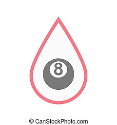Isolated blood drop with a pool ball - Illustration of an...