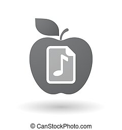 Isolated apple with a music score icon - Illustration of an...