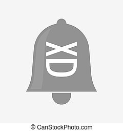 Isolated bell with   a laughing text face