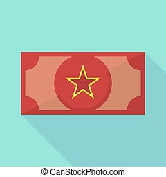 Long shadow bank note with  the red star of communism icon