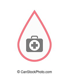Isolated blood drop with  a first aid kit icon