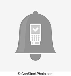 Isolated bell with a dataphone icon - Illustration of an...