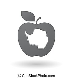 Isolated apple with  the map of  Antarctica
