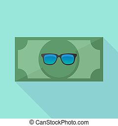 Long shadow bank note with a sunglasses icon - Illustration...