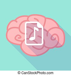 Long shadow brain with a music score icon - Illustration of...