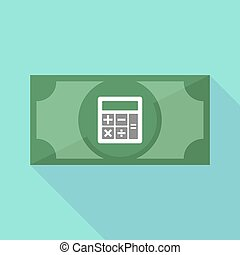 Long shadow bank note with a calculator - Illustration of a...