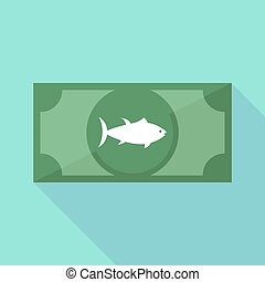 Long shadow bank note with a tuna fish - Illustration of a...