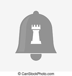 Isolated bell with a rook chess figure - Illustration of an...