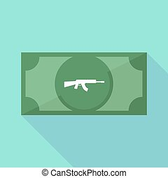 Long shadow bank note with a machine gun sign - Illustration...