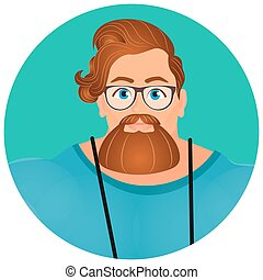 Faces Avatar in circle. Portrait Brutal Young Bearded Hipster male in eyeglasses. Vector illustration eps 10. Flat cartoon style.