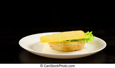 Preparing sandwich with cheese and tomato in dish -...