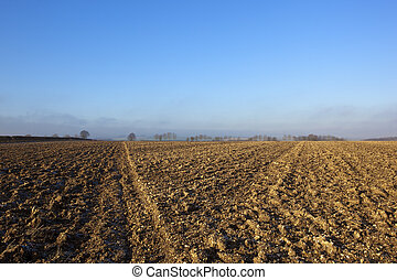 chalky plow soil - lines and patterns in chalky plow soil in...