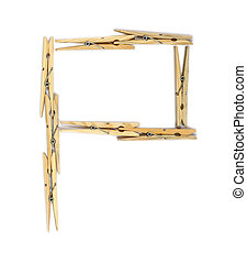 Clothespin letter P - Letter P made of wooden clothespins...
