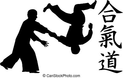 Aikido fighters with caligraphy signs