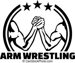 Arm wrestling lable with word