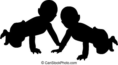 Two baby silhouettes
