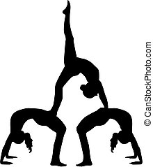 Acrobatics silhouette of three people
