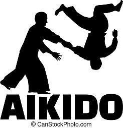 Aikido fighters with word