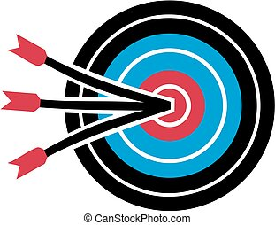 Archery target with three arrows in the middle