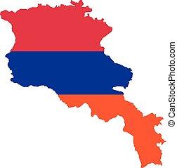 Armenia map with flag