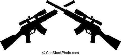 Crossed airsoft gun