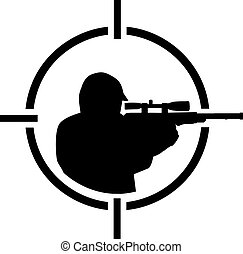 Airsoft player in crosshair