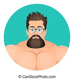 Faces Avatar in circle. Portrait Brutal Young Bearded...