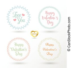 Set of 4 vector design floral wreaths and typography. Hand...