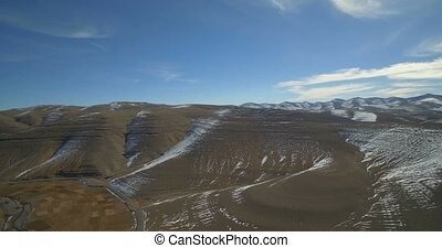 Aerial, Snowy Mountains, Landscape Around Agoudal, Morocco