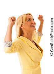 success - Successful business woman with arms up - isolated over a white background