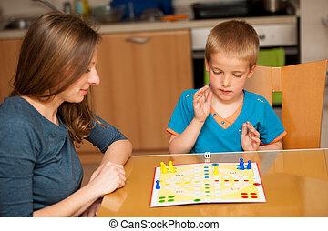niño, el suyo, juegos, joven, ludo, juego, madre, tabla,...