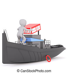 3D figure in tugboat lifting the roof - Single 3D figure in...
