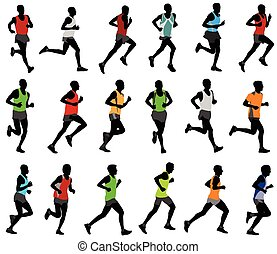 runners in colored sportswear silhouettes - vector