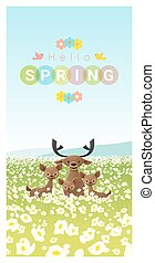 Hello spring landscape background with deer family 2