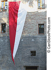 old palace with flag - urbino old palace