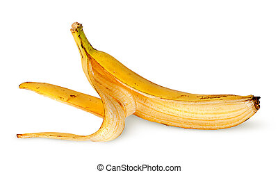 In front banana skin deployed horizontally isolated on white...
