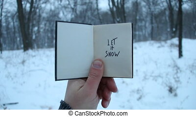 Let it snow idea, male holds a book in his hand with the...