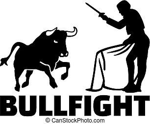 Torero with bull fighting
