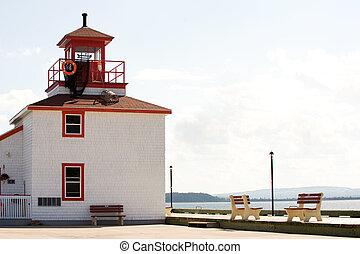 Pictou, Nova Scotia - Waterfront boardwalk in tourist town...