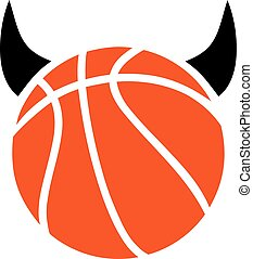 Basketball Ball with Devil Horns