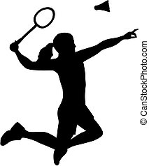 Silhouette of Badminton woman