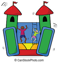 Bouncing castle - Cartoon illustration showing a couple of...