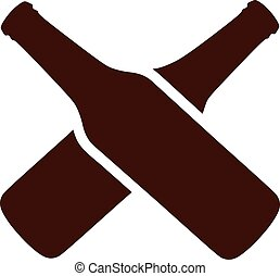 Brown bottles of beer crossed