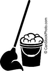 Floor cleaning bucket with mop