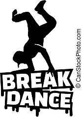 Breakdance word with silhouette