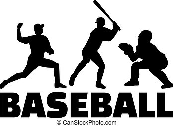 Set of baseball player silhouettes