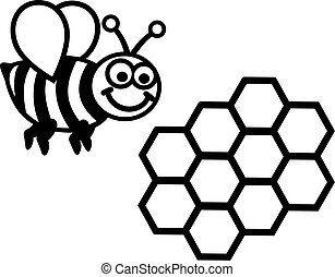 Bee with honeycomb