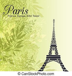 Vector Paris Eifel Tower On Green Leaves Spring Background....