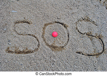 s o s in the sand in a bunker