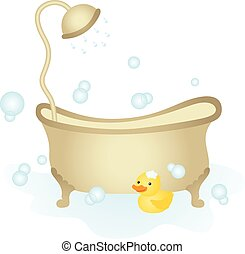 Bathtub with shower - Scalable vectorial image representing...